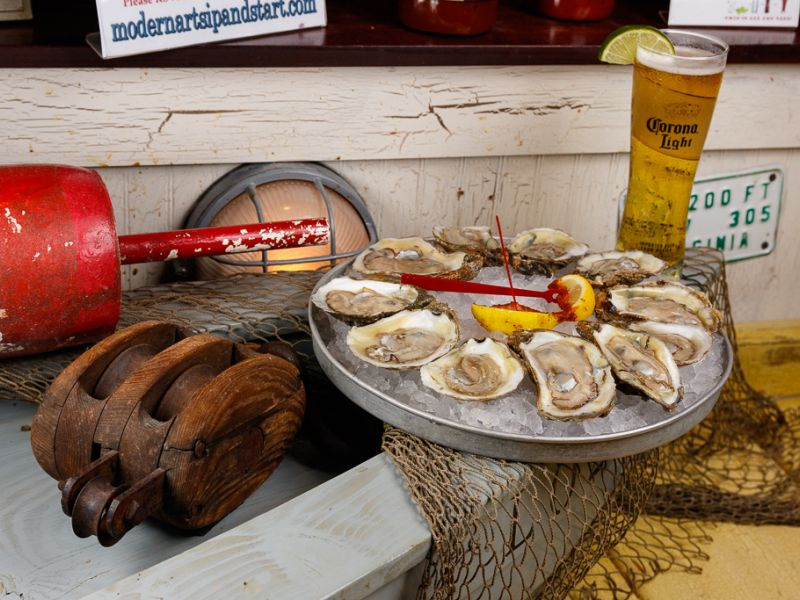 Oyster platter and beer glass